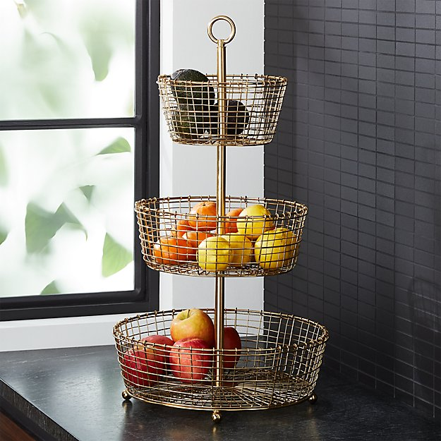 Bendt Gold 3-Tier Wire Fruit Basket - Image 1 of 8