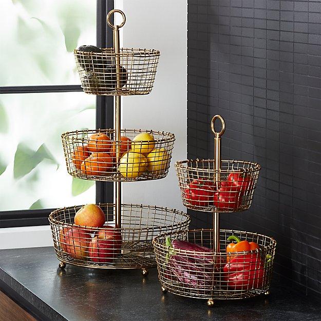 Bendt Gold Wire Fruit Basket - Image 1 of 8