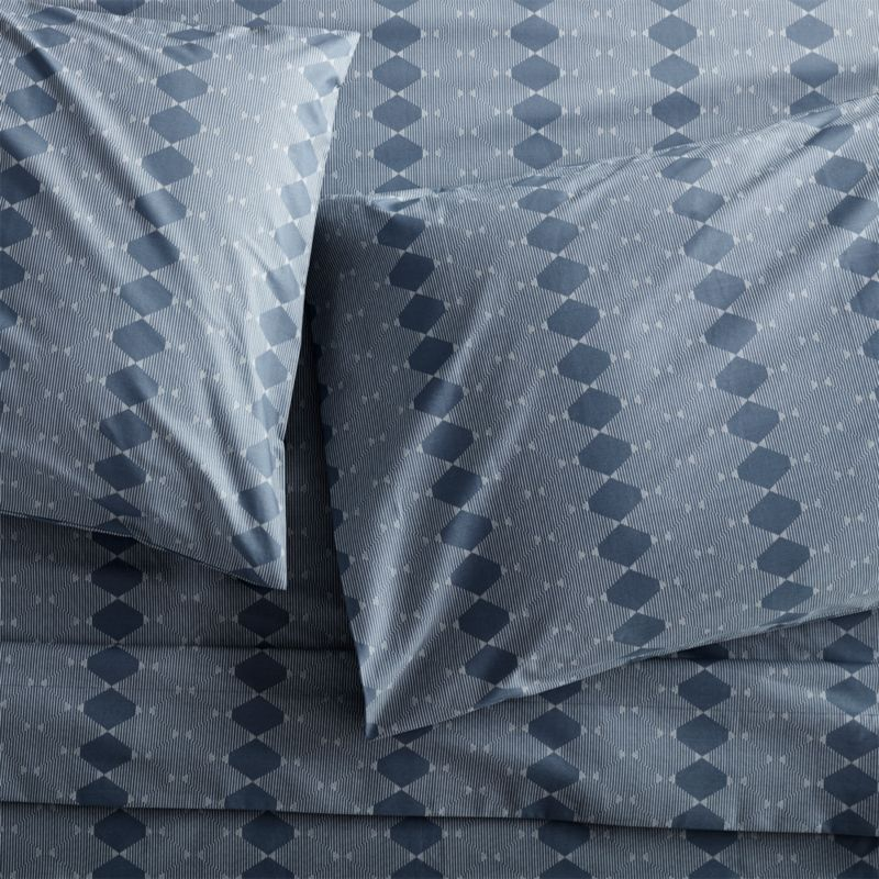 Bennett Blue Sheets and Pillow Cases Crate and Barrel