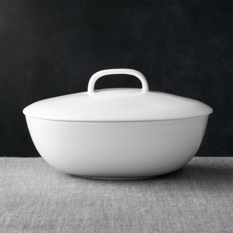 Beautiful Bennett Oval Serving Bowl with Lid + Reviews | Crate and Barrel HH74
