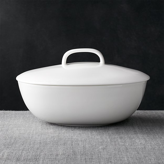 Bennett Oval Serving Bowl with Lid - Image 1 of 5