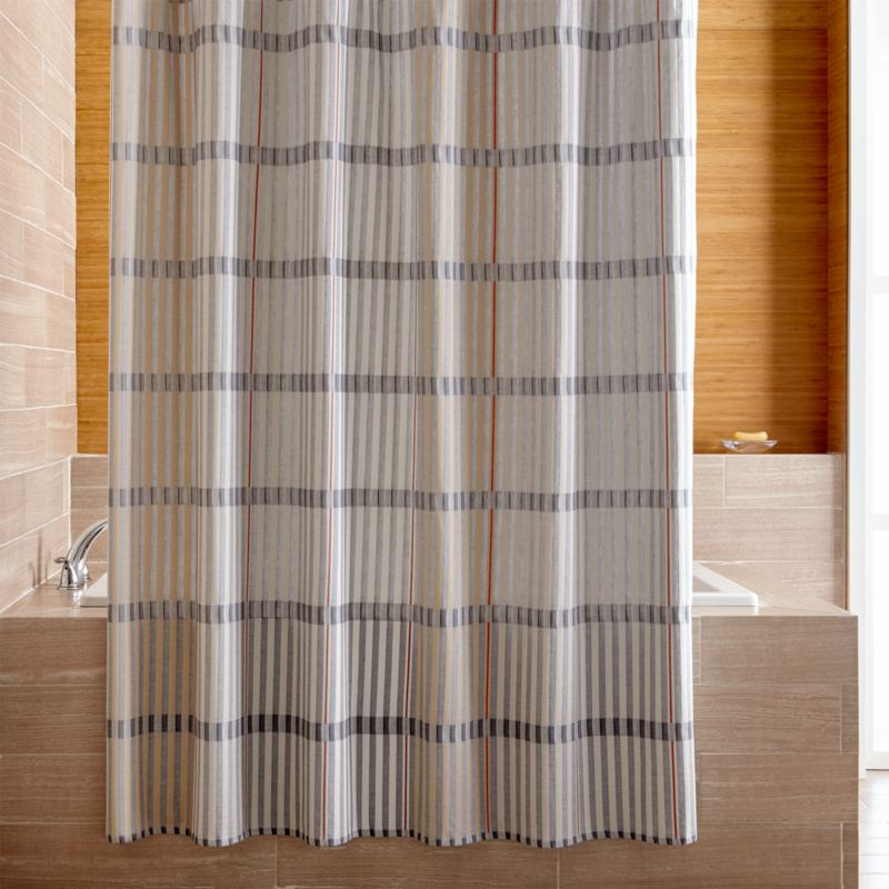 Bensley Blue Striped Shower Curtain
