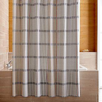 Bensley Blue Striped Shower Curtain