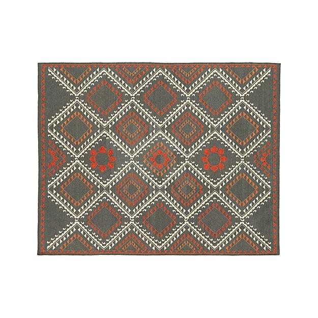 Bessie Charcoal Wool Dhurrie 9'x12' Rug