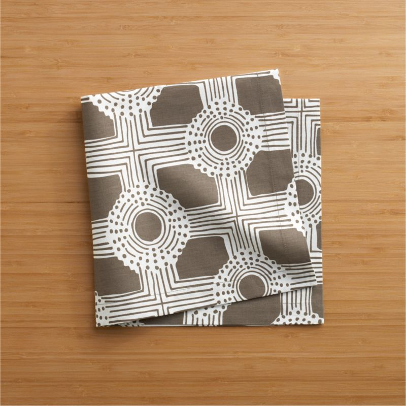 Deco geometrics unwind in whimsical hand-drawn circle and grid pattern, realized in dark taupe and white on 100% cotton.<br /><br /><NEWTAG/><ul><li>100% cotton</li><li>Machine wash, tumble dry</li><li>Made in India</li></ul>