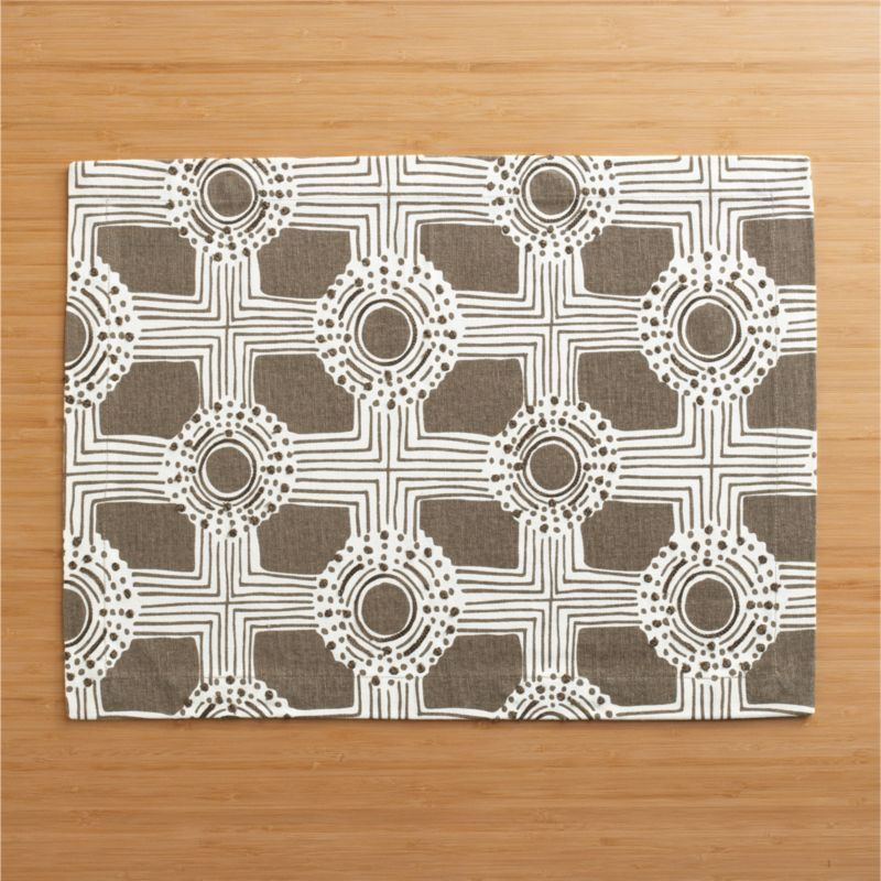 Deco geometrics unwind in whimsical hand-drawn circle and grid pattern, embellished with pops of embroidery and realized in dark taupe and white on 100% cotton.<br /><br /><NEWTAG/><ul><li>100% cotton</li><li>100% rayon embroidery</li><li>Machine wash, tumble dry low; reshape while damp</li><li>Made in India</li></ul>