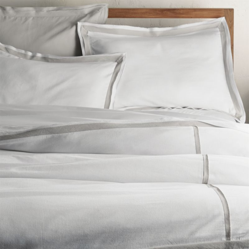 Bianca White Grey Full Queen Duvet Cover Crate And Barrel