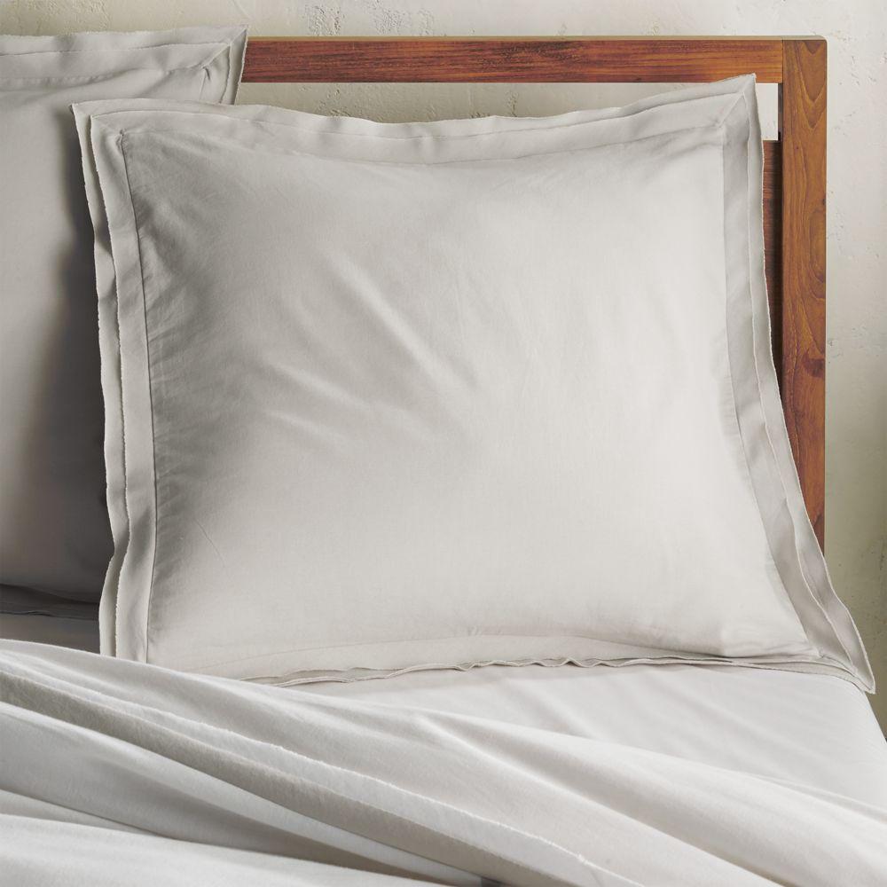 Bianca Grey Euro Pillow Sham - Crate and Barrel