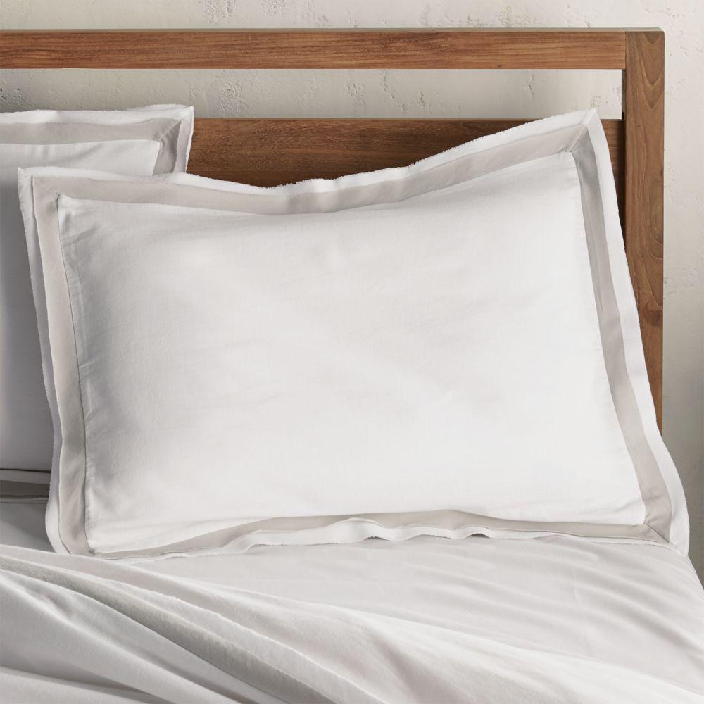 Bianca White/Grey Standard Pillow Sham - Crate and Barrel