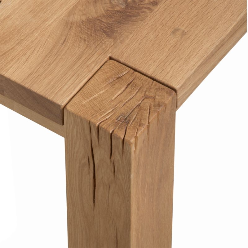 close up of the leg going through the table top