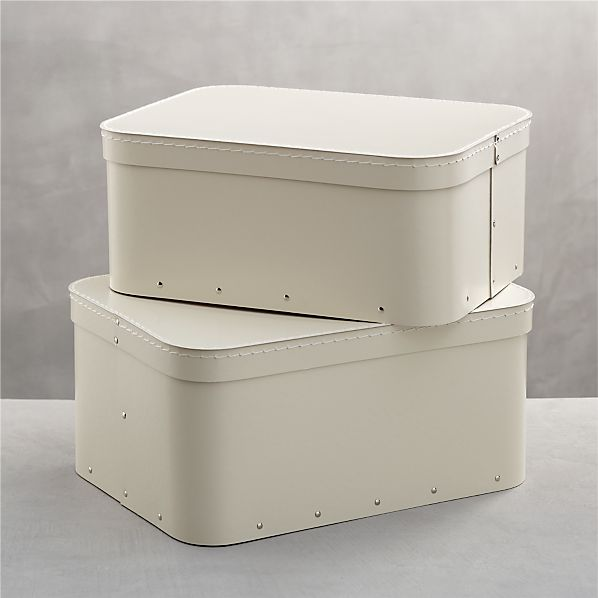 Set of 2 Bigso ® Ivory Rectangular Storage Boxes
