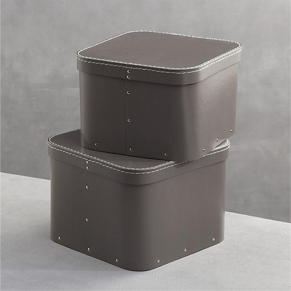 Set of 2 Bigso ® Grey Square Storage Boxes