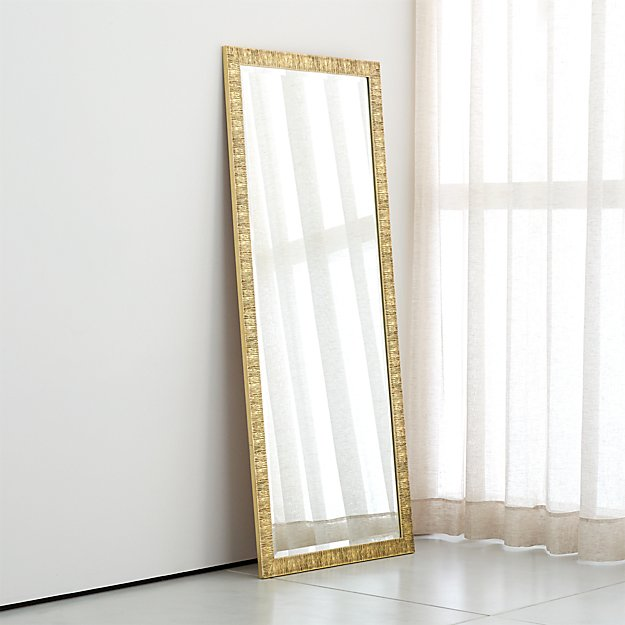 Birch Champagne Gold Floor Mirror + Reviews | Crate and Barrel