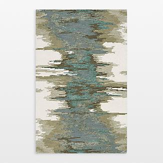 Birch Cyan Wool-Blend Abstract Rug 5'x8'