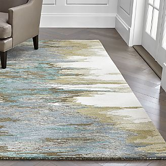 Birch Cyan Wool Blend Abstract Rug