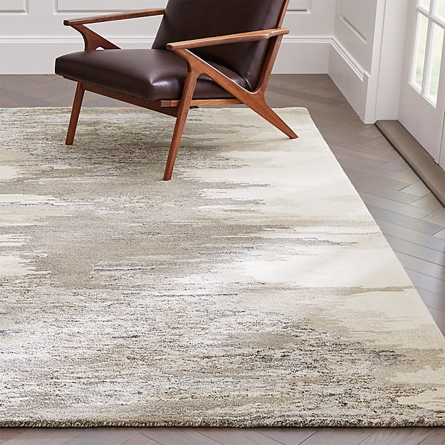 Birch Neutral Wool-Blend Abstract Rug - Image 1 of 7