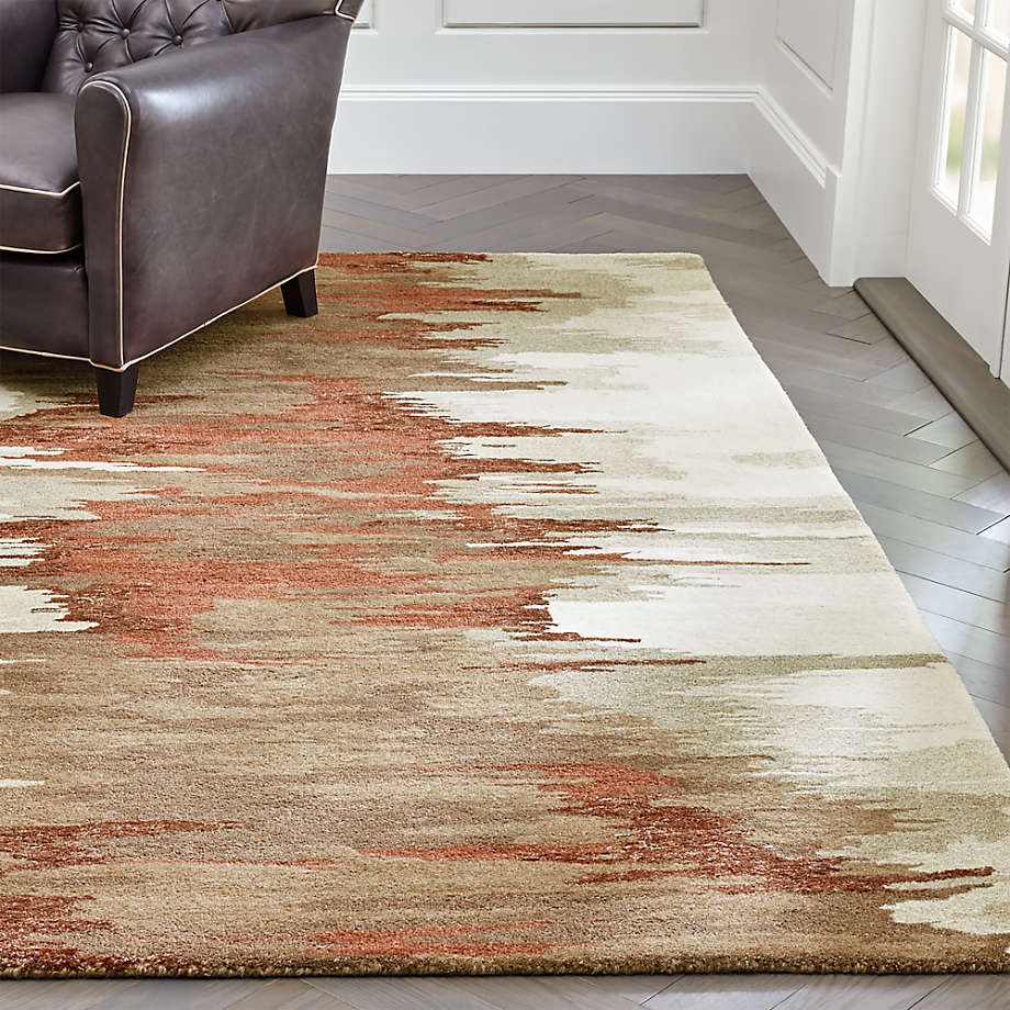 Birch Terra Cotta Wool Blend Abstract Rug Crate And Barrel