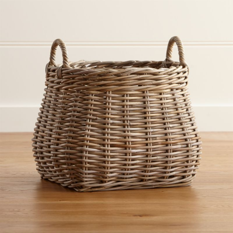 Next Woven Basket : Birney round grey rattan basket crate and barrel