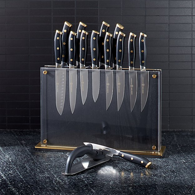 Schmidt Brothers ® Black and Brass 15-Piece Knife Set in Midtown Block - Image 1 of 4