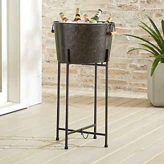 Black Galvanized Tub Stand Set
