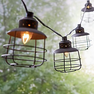 Outdoor lighting string lights and lanterns crate and barrel black geo cage string lights aloadofball Images