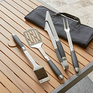 Black-Handled 4-Piece Barbecue Tool Set