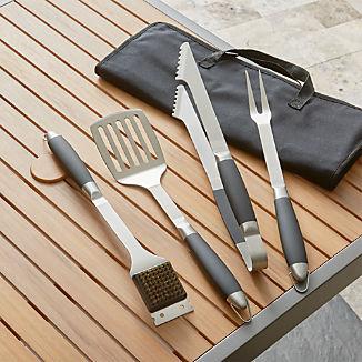 Black-Handled 4-Piece Barbecue Tool Set