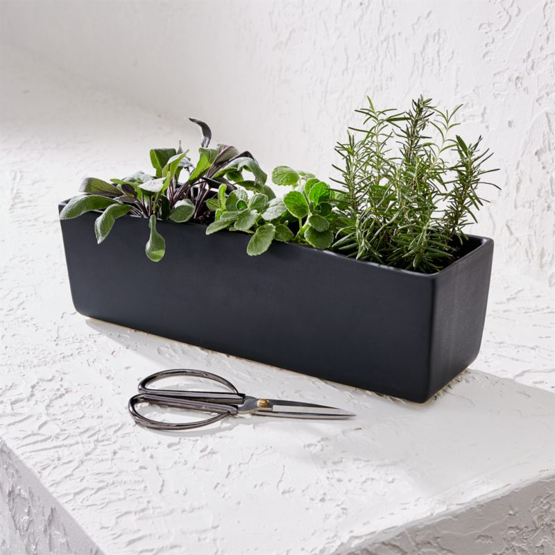 Black Herb Planter With Scissors