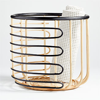 Black and Natural Open Rattan Basket