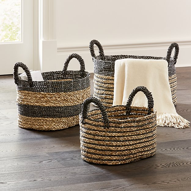 Black Nesting Baskets, Set of 3 - Image 1 of 3