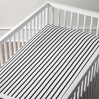 Organic Noir Stripe Crib Sheet
