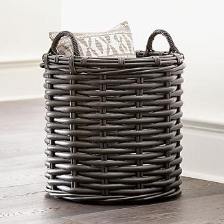 Black Rattan Woven Round Basket