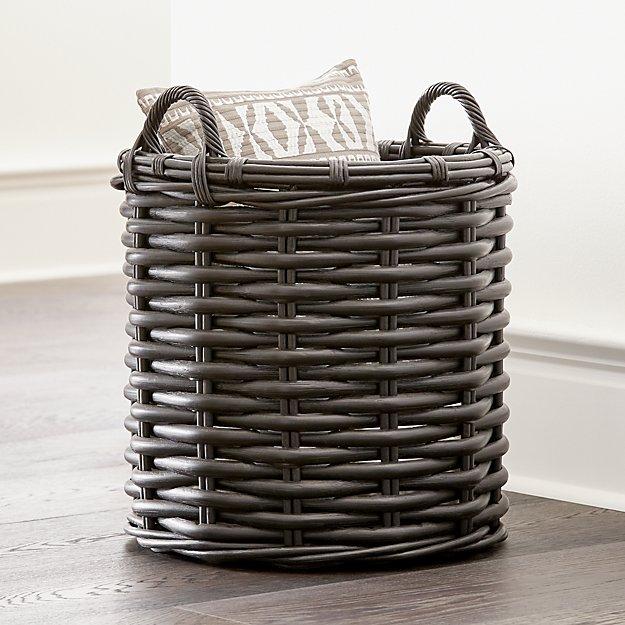 Black Rattan Woven Round Basket - Image 1 of 4