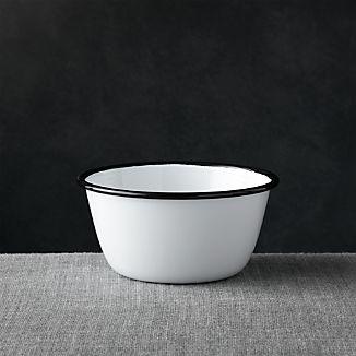 Black Rim Enamelware Bowl