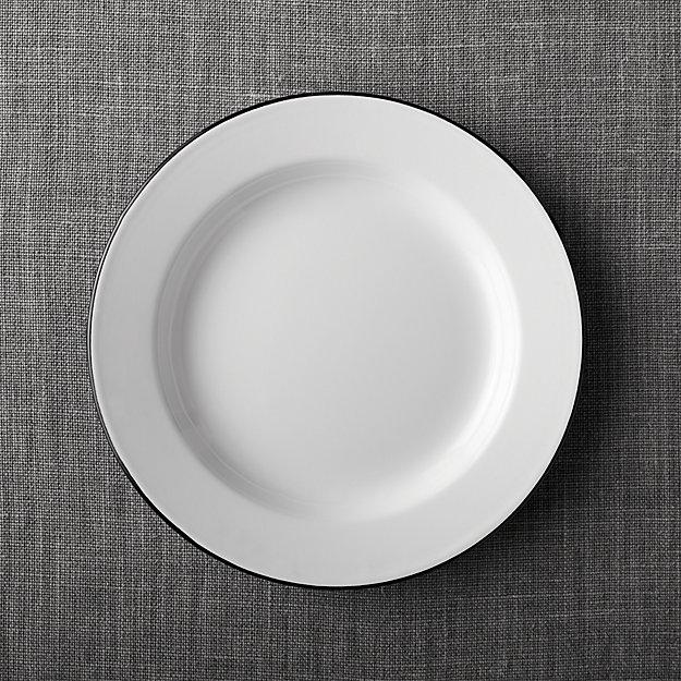 Black Rim Enamelware Dinner Plate
