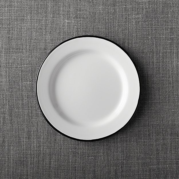 Black Rim Enamelware Salad Plate