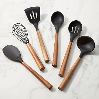 Black Silicone Utensils with Acacia Handle