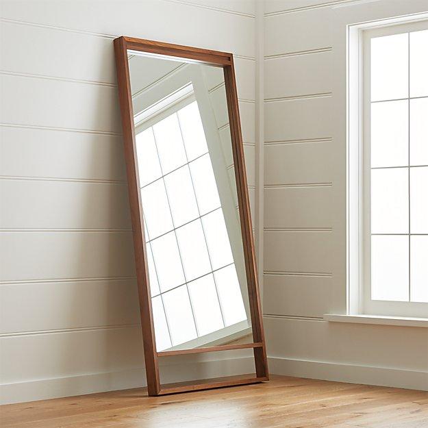 Blair Walnut Floor Mirror + Reviews | Crate and Barrel
