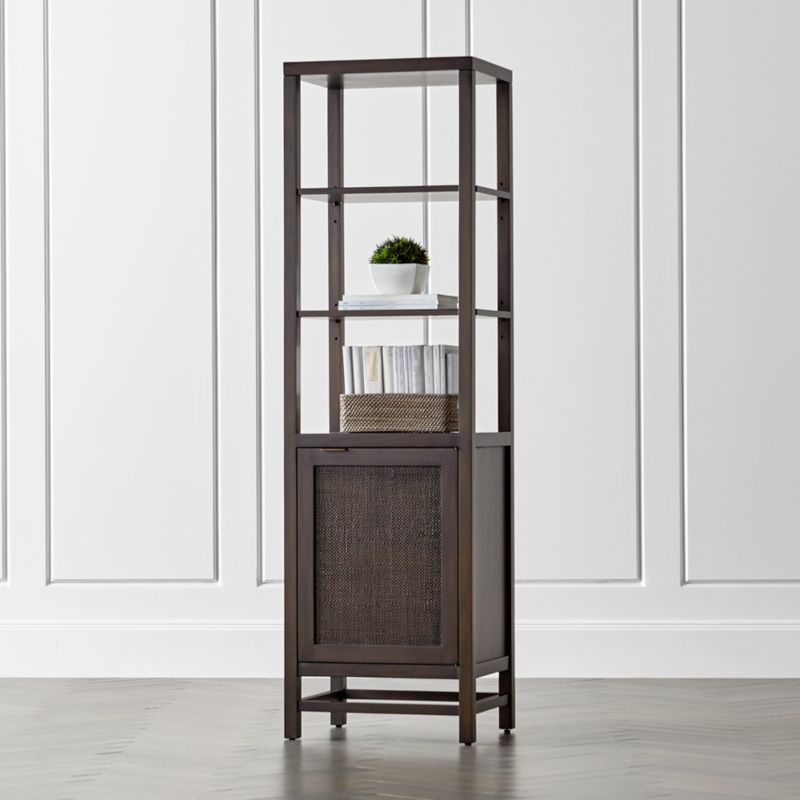 Blake carbon tall cabinet reviews crate and barrel for Matte black kitchen doors