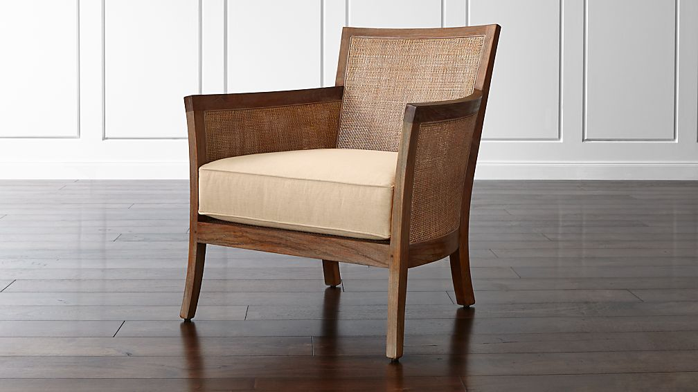 Blake Grey Wash Rattan Chair with Fabric Cushion - Image 1 of 9