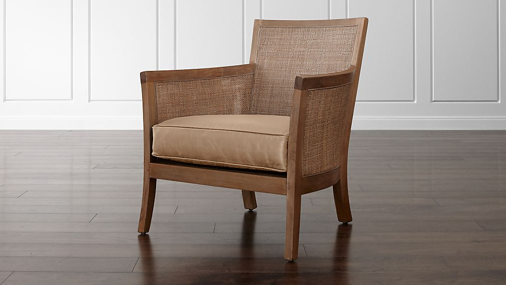 Blake Grey Wash Rattan Chair with Leather Cushion - Image 1 of 7