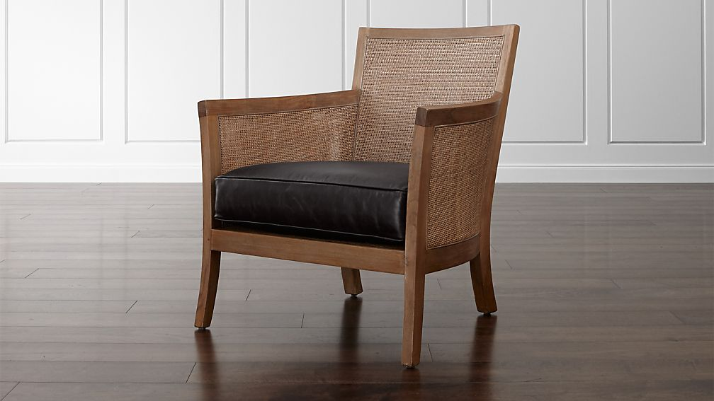 Blake Grey Wash Rattan Chair with Leather Cushion - Image 1 of 8