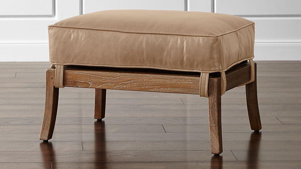 Blake Grey Wash Ottoman with Leather Cushion