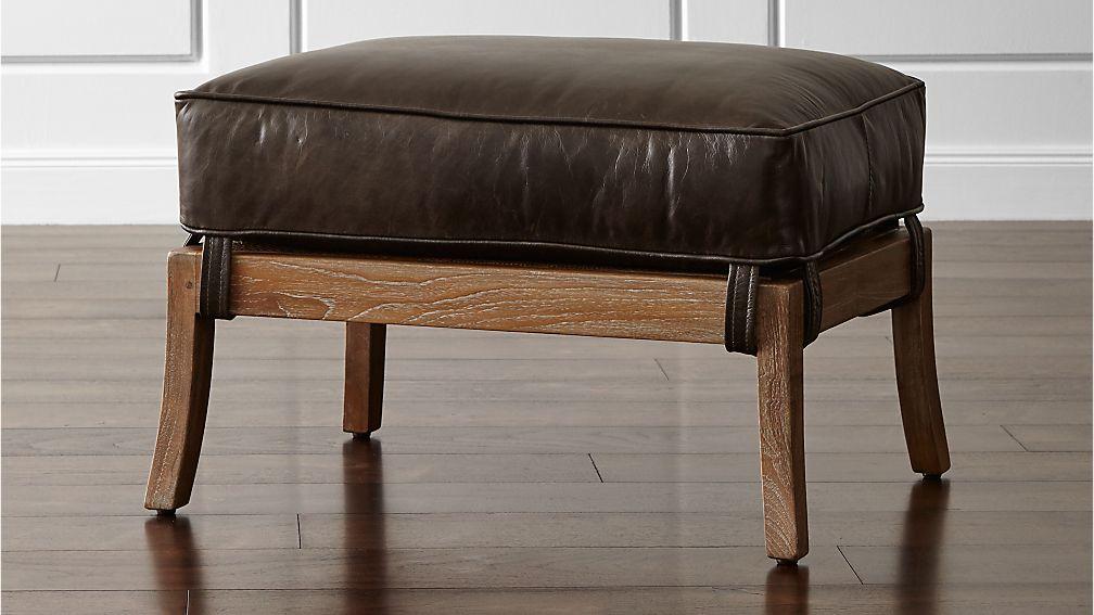 Blake Grey Wash Rattan Ottoman with Leather Cushion - Image 1 of 5
