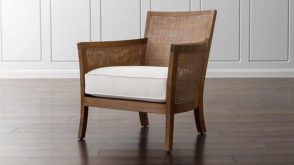 Blake Rattan White Cushioned Chair Reviews Crate And Barrel