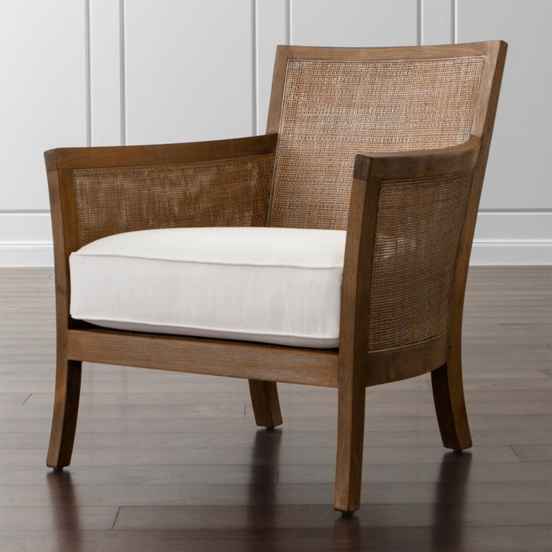 """Handwoven rattan panels """"upholster"""" Blake's sustainably sourced  teak frame with a breezy, tropical appeal. A pale grey wash lends a gently weathered look that instantly puts casual living rooms and family rooms at ease. <NEWTAG/><ul><li>Frame is benchmade using solid FSC-certified teak with handwoven natural rattan panels and a grey wash finish</li><li>Nylon webbing suspension system</li><li>Soy-based polyfoam cushion encased in synthetic ticking</li><li>Made in USA and Indonesia</li></ul><br />"""