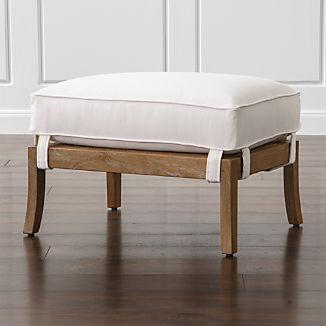 Blake Grey Wash Rattan Ottoman with Fabric Cushion
