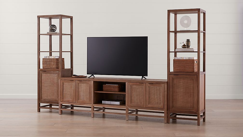 """Blake Grey Wash 85"""" Media Console with 2 Tall Cabinets - Image 1 of 5"""