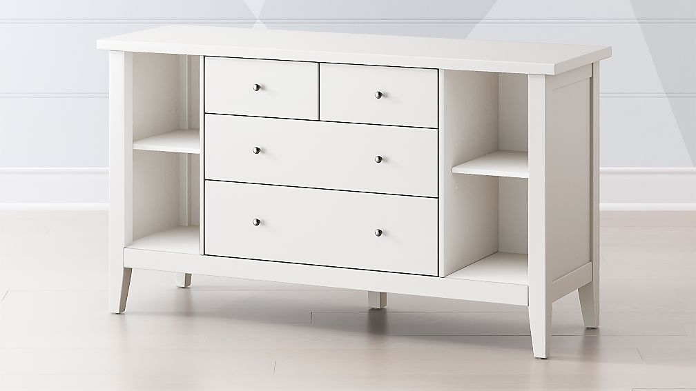 Kids Dressers Modern White Poplar Dresser With Shelves Crate And Barrel