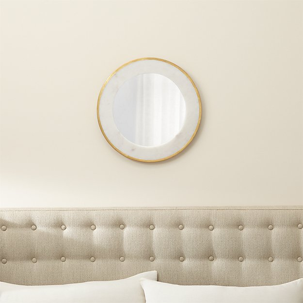 Bathroom Mirrors Crate And Barrel blanche round wall mirror | crate and barrel